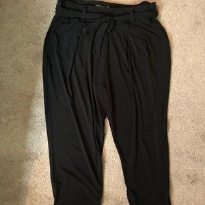 High-Rise Paperbag Waist Belted Black Dress Pants